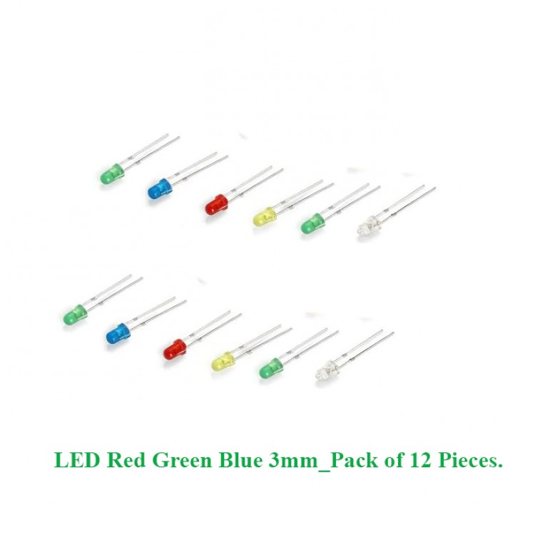 LED Red Green Blue 3mm_Pack of 12 Pieces.