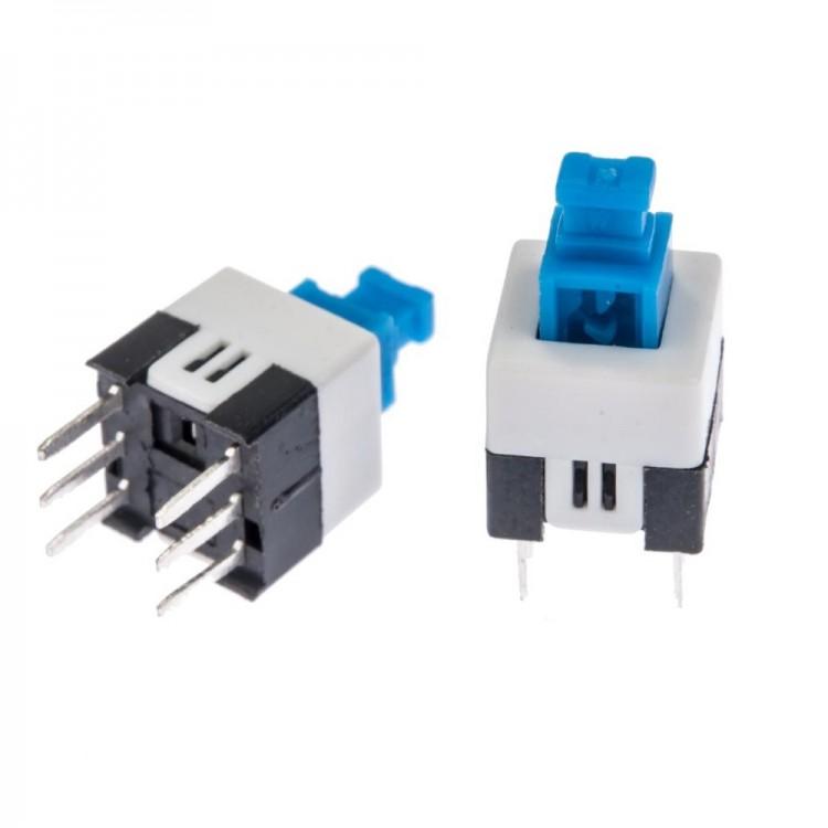 Self-locking Push Button Switch 6 Pin DPDT