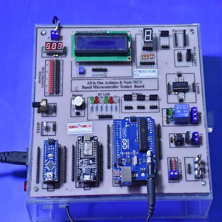 All in One Arduino & Node MCU Based Microcontroller Trainer Board.