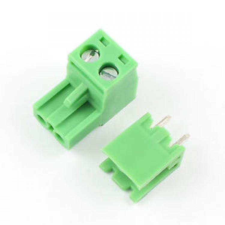 Green L Type 2pin/way 5.08mm Screw Terminal Block Connector 1pair