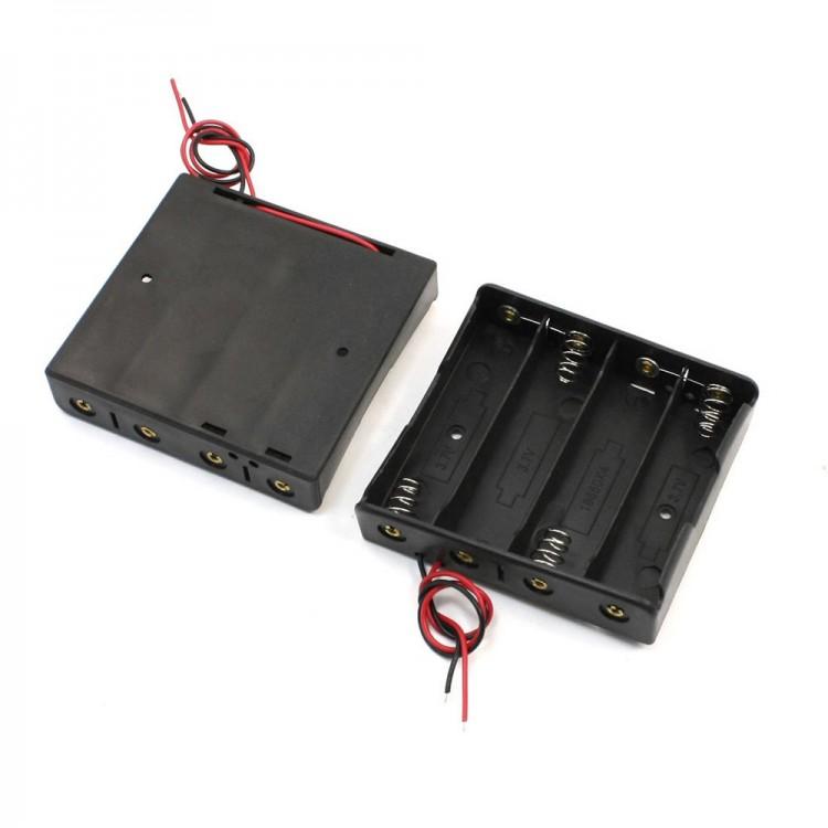 18650 Battery 3.7V Clip Holder Box Case Black _4 Battery Chamber