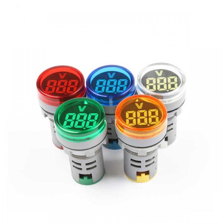 Digital Voltmeter Lamp_22mm AC 20-500V_Round