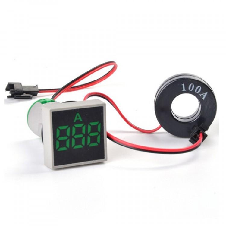 Digital Ammeter Current Meter Led Lamp Square Signal Light Current Tester Digital Panel Indicator_22MM 0-100A